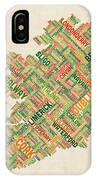 Ireland Eire City Text Map IPhone X Case by Michael Tompsett
