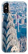 New York City Manhattan Midtown Aerial Panorama View With Skyscr IPhone Case