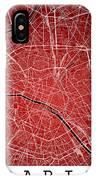 Paris Street Map - Paris France Road Map Art On Colored Backgrou IPhone Case