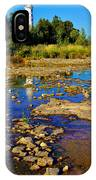 The Cana Island Lighthouse In Baileys Harbor Reflective Waters. IPhone Case