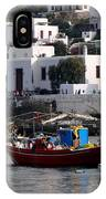 A Boat In The Harbor Of Mykonos Greece IPhone Case