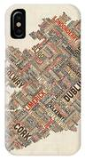Ireland Eire City Text Map IPhone Case