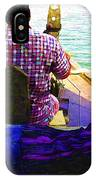 Lady Sleeping While Boatman Steers IPhone Case