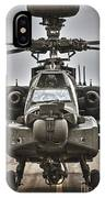 Ah-64 Apache Helicopter On The Runway IPhone Case