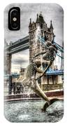 Tower Bridge And The Girl And Dolphin Statue IPhone Case