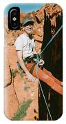 A Climber On Panty Wall In Red Rock IPhone Case