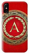 A - Gold Vintage Monogram On Red Leather IPhone Case
