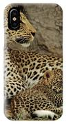 A Leopard Cub With Her Mother IPhone Case