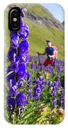 A Male Hiker In Sunny Flower Field IPhone Case