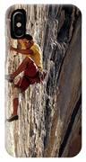 A Man Climbing A Big Wall In El Potrero IPhone Case