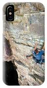 A Man Tackles An Overhanging Sandstone IPhone Case