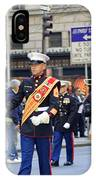 A Marine Band Marching In The 2009 New York St. Patrick Day Parade IPhone Case