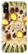 A Mexican Golden Barrel Cactus With Blossoms IPhone Case