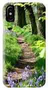 A Path Through An English Bluebell Wood In Early Spring IPhone Case