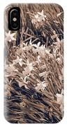 Clusters Of Daffodils In Sepia IPhone Case