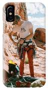 A Rock Climber Setting Up To Climb IPhone Case