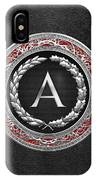 A - Silver Vintage Monogram On Black Leather IPhone Case