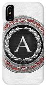 A - Silver Vintage Monogram On White Leather IPhone Case