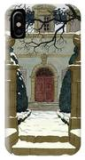 A Snow Covered Pathway Leading To A Mansion IPhone X Case