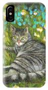 A Striped Cat On Floral Carpet IPhone Case