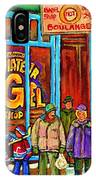 A Stroll After The Hockey Game St Viateur Bagel Montreal Winter Street Carole Spandau IPhone Case