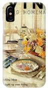 A Table Setting With A Floral Centerpiece IPhone Case