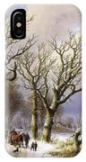 A Wooded Winter Landscape With Figures IPhone Case