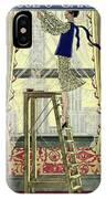 A Young Matron Adjusting Curtains IPhone Case
