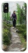 A Young Woman Walks Along An Sub-alpine IPhone Case