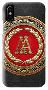 Aa Initials - Gold Antique Monogram On Black Leather IPhone Case