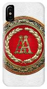 Aa Initials - Gold Antique Monogram On White Leather IPhone Case