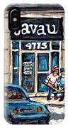 Montreal Art Exhibit At Java U Carole Spandau Montreal Street Scenes Paintings Hockey Art  IPhone Case