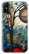 Abstract Art Contemporary Cat Bird Circle Of Life Collection Cat Perch By Madart IPhone Case