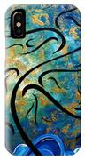 Abstract Art Gold Textured Original Tree Painting Peace And Desire By Madart IPhone Case
