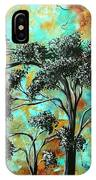 Abstract Art Landscape Metallic Gold Textured Painting Spring Blooms II By Madart IPhone Case