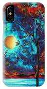 Abstract Art Landscape Tree Blossoms Sea Moon Painting Visionary Delight By Madart IPhone Case