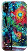 Abstract Art Landscape Tree Blossoms Sea Painting Under The Light Of The Moon II By Madart IPhone Case