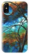 Abstract Art Original Colorful Painting Mystery Of The Moon By Madart IPhone Case