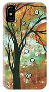 Abstract Art Original Landscape Painting Bold Circle Of Life Design Autumns Eve By Madart IPhone Case