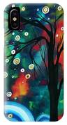 Abstract Art Original Landscape Painting Bold Circle Of Life Design Dance The Night Away By Madart IPhone Case