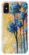 Abstract Art Original Landscape Painting Contemporary Design Blue Trees II By Madart IPhone Case