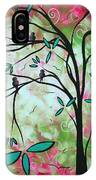 Abstract Art Original Whimsical Magical Bird Painting Through The Looking Glass  IPhone Case