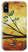 Abstract Bird Landscape Tree Blossoms Original Painting Family Of Three IPhone Case