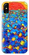 Abstract Blue Poppies In Sunrise -original Oil Painting IPhone Case