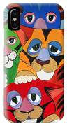 Abstract Colorful Sleepy Cats IPhone Case