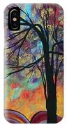 Abstract Landscape Tree Art Colorful Gold Textured Original Painting Colorful Inspiration By Madart IPhone Case