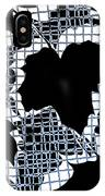 Abstract Leaf Pattern - Black White Light Blue IPhone Case