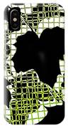 Abstract Leaf Pattern - Black White Lime Green IPhone Case