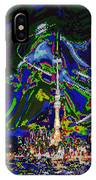 Abstract Some Where In Galaxy Light Years Away Launching A Satellite To Connect With The Earth IPhone Case