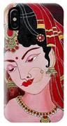 Acrylic Painting-lady With Diya IPhone Case